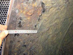 Metal loss caused as a result of corrosion on water box