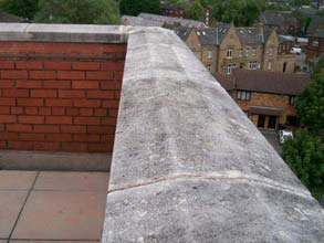 Coping stone joint suffering water ingress